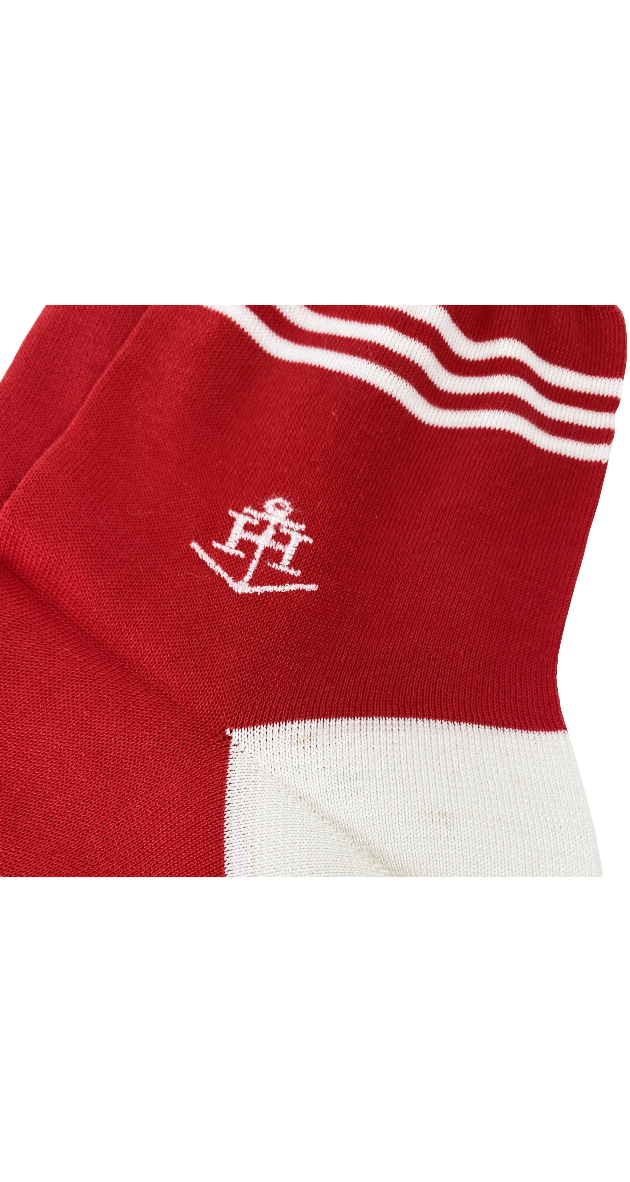 1980s Red & White Silk Knit Socks