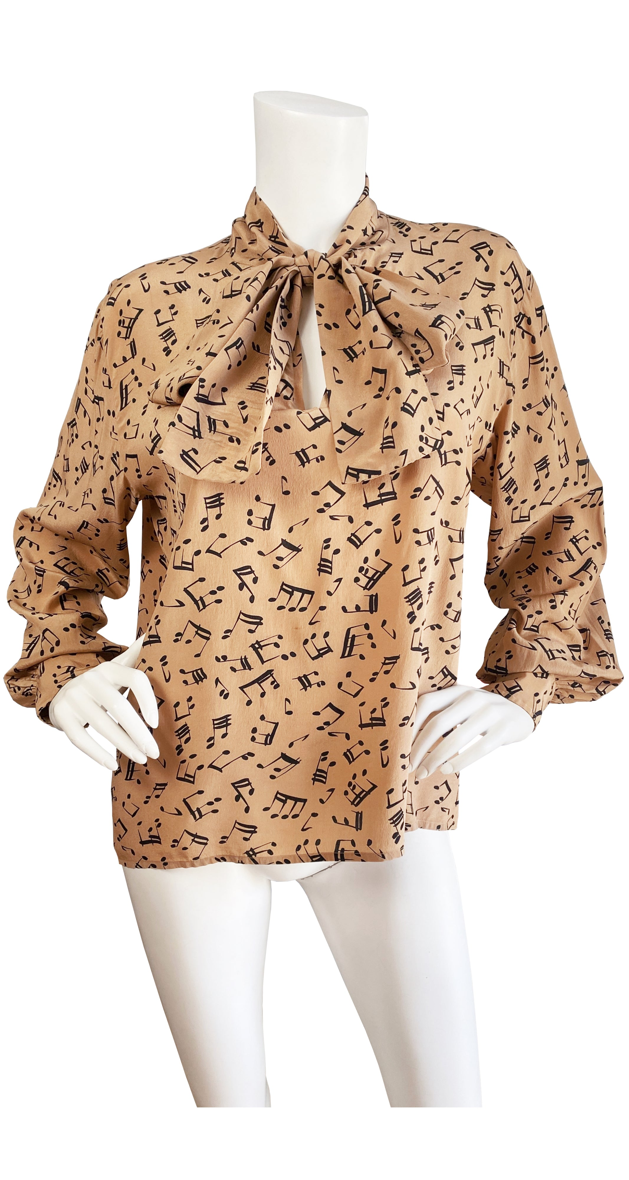 1980 S/S Musical Notes Novelty Print Silk Ascot Blouse