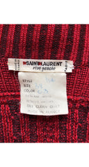 1980s Embossed Leather & Red Wool Cable Knit Cardigan
