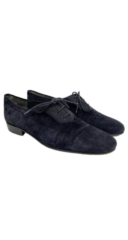 1980s Men's Black Suede Lace-Up Shoes
