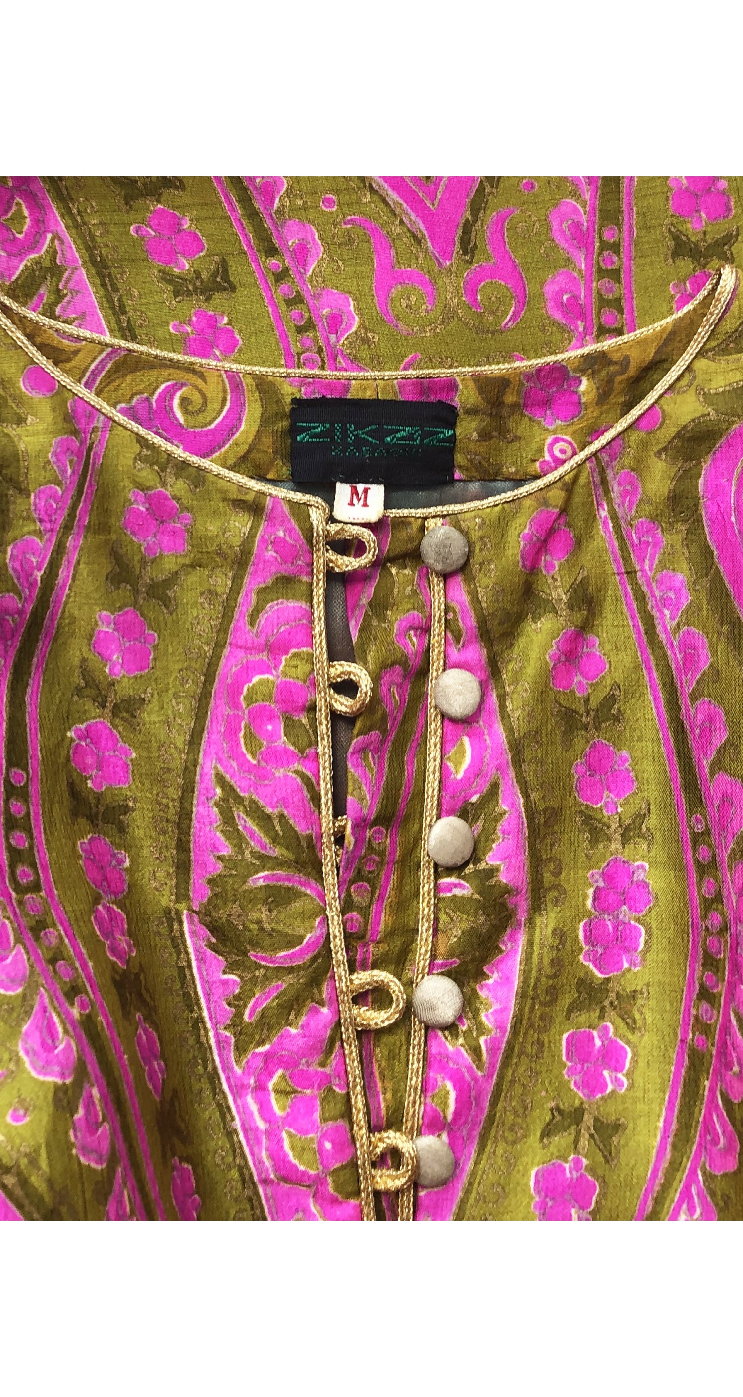 1970s Gold Stenciled Pink & Green Raw Silk Caftan