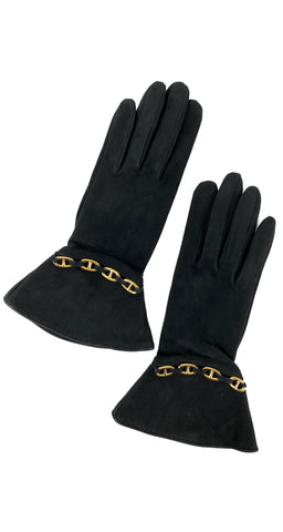 1980s Gold Anchor Chain Black Suede Gloves