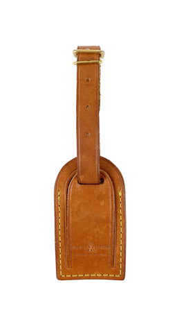 1980s Brown Leather Luggage Tag