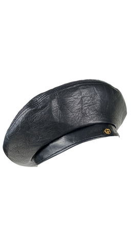 c. 1980 Gold Logo Black Leather Beret