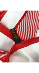 1970s Logo Red & White Striped Silk Scarf