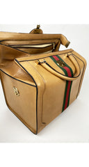 1960s Tan Leather Red & Green Stripe Travel Case