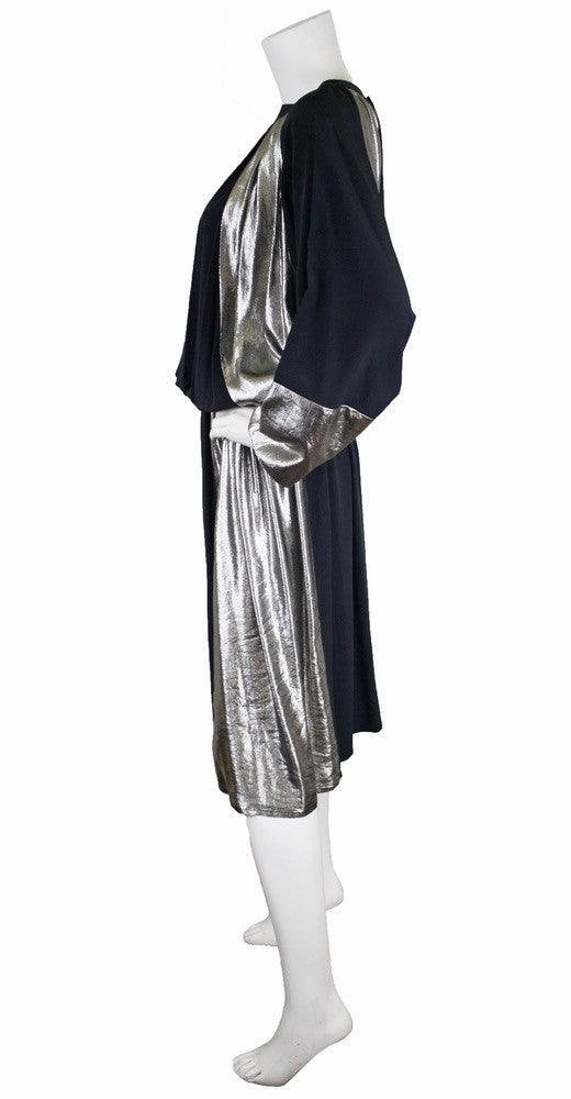 1970s Grey & Silver Silk Dress by Karl Lagerfeld