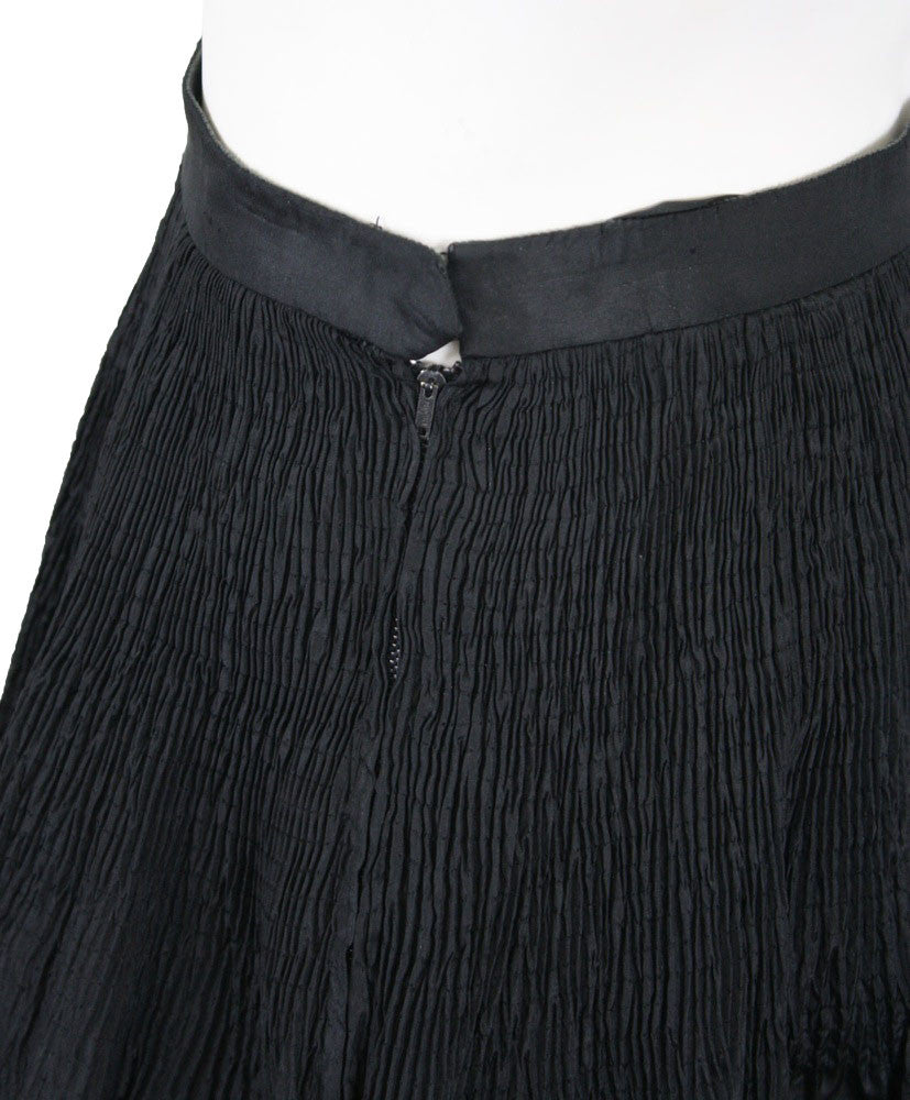 1970s Black Silk Taffeta Evening Skirt