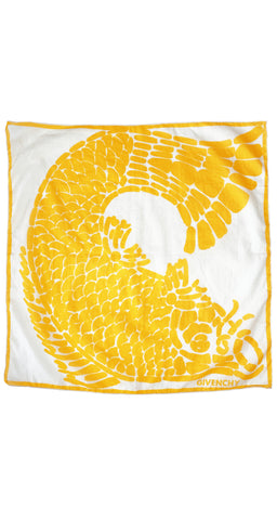 1970s Koi Fish Yellow & White Cotton Scarf