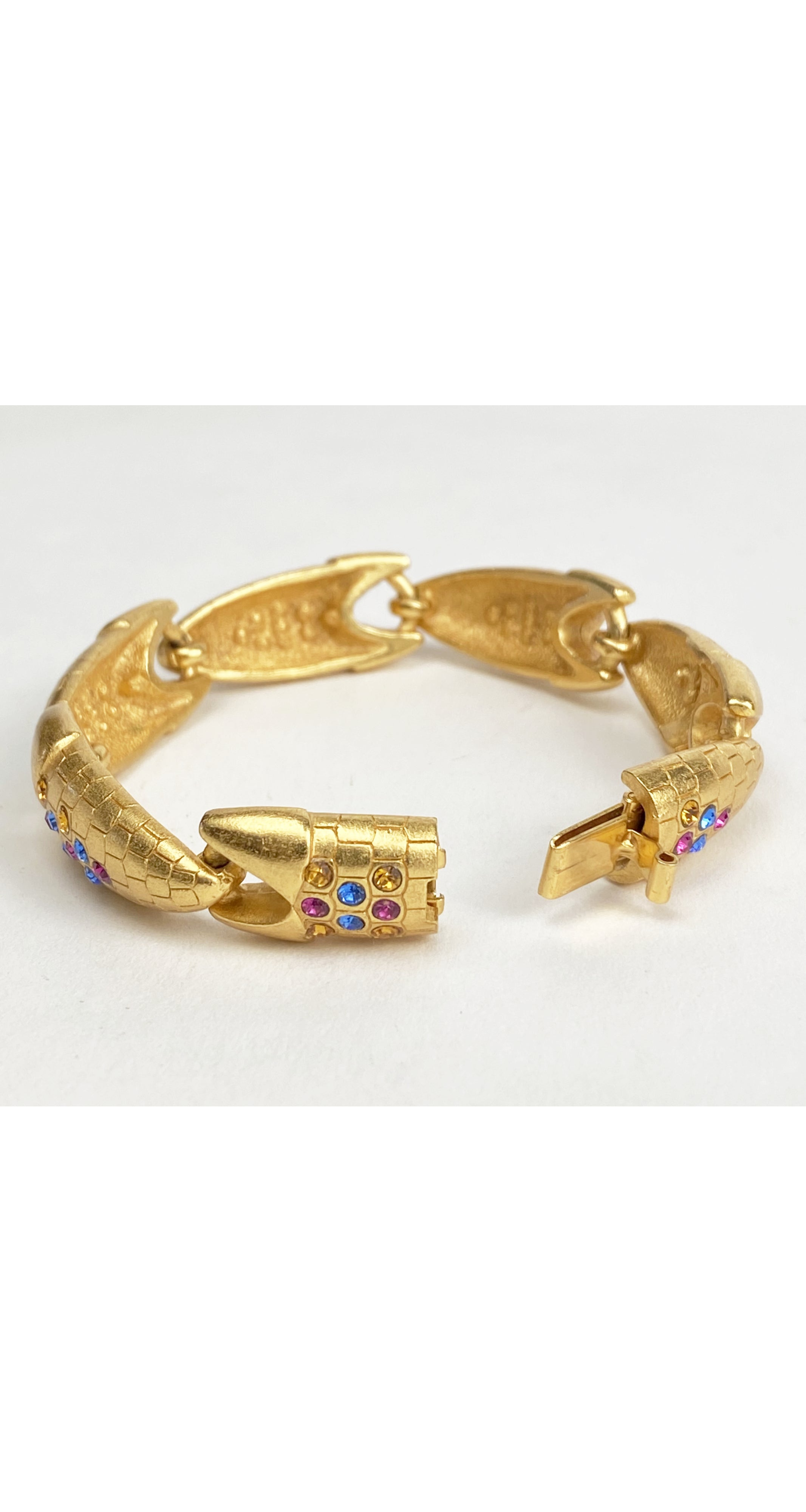 1990s Rhinestone Gold-Tone Clip-On Earrings & Bracelet Set