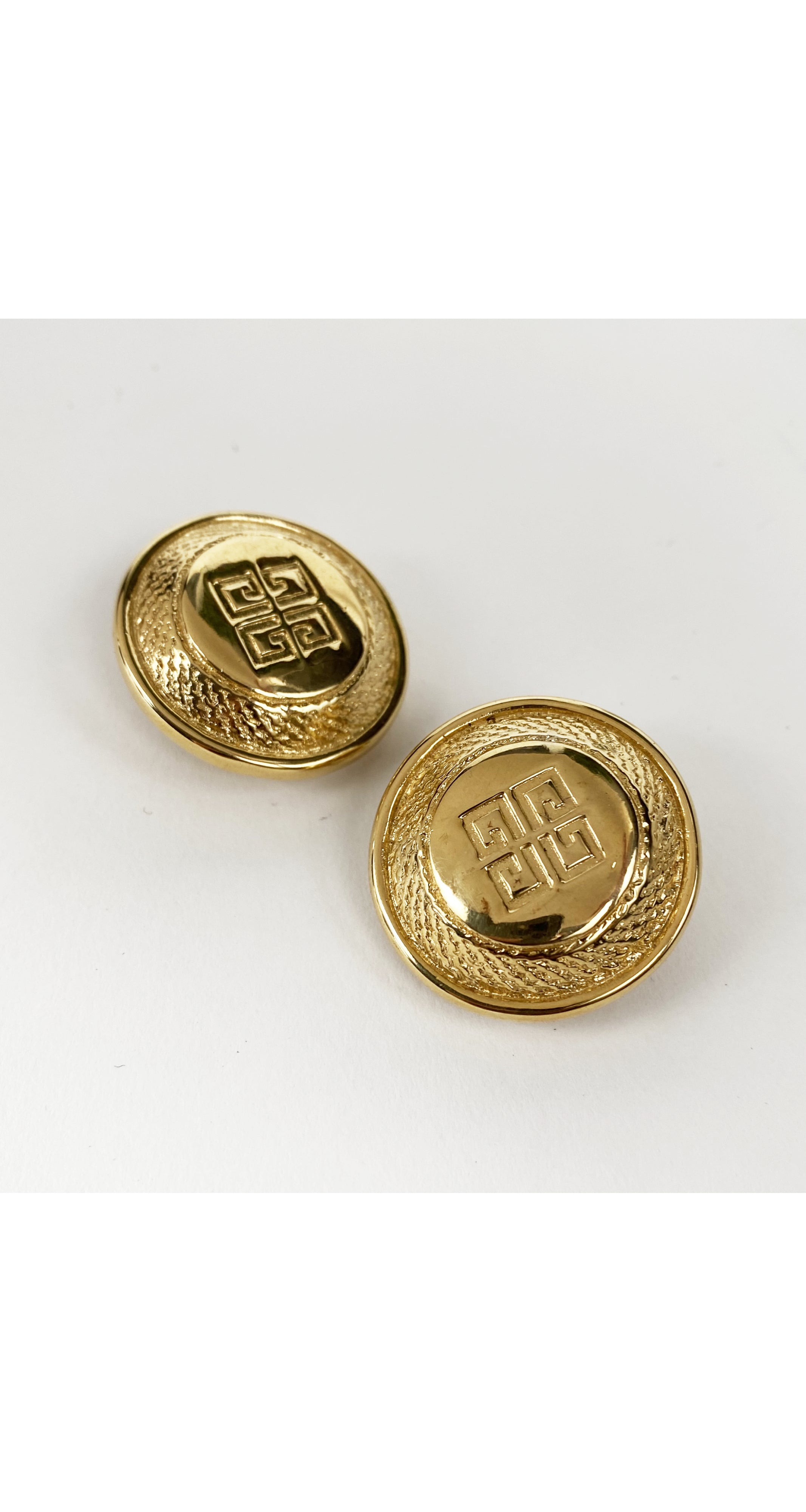 1980s NOS Logo Gold-Plated Clip-On Earrings