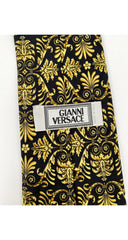 1990s Baroque Gold & Black Silk Men's Tie