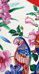 1980s Macaw Parrot Jungle Print Silk Scarf