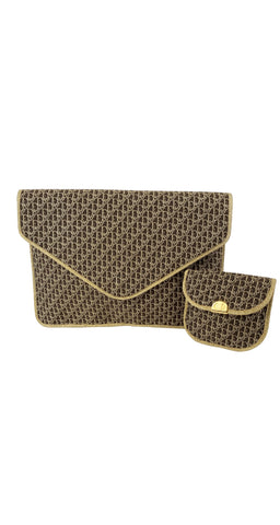 1970s Gold Metallic Monogram Envelope Clutch & Coin Purse