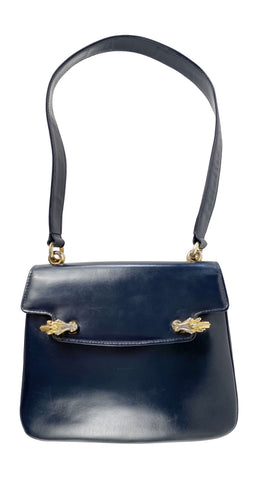 1960s Horsehead Clasp Navy Leather Handbag