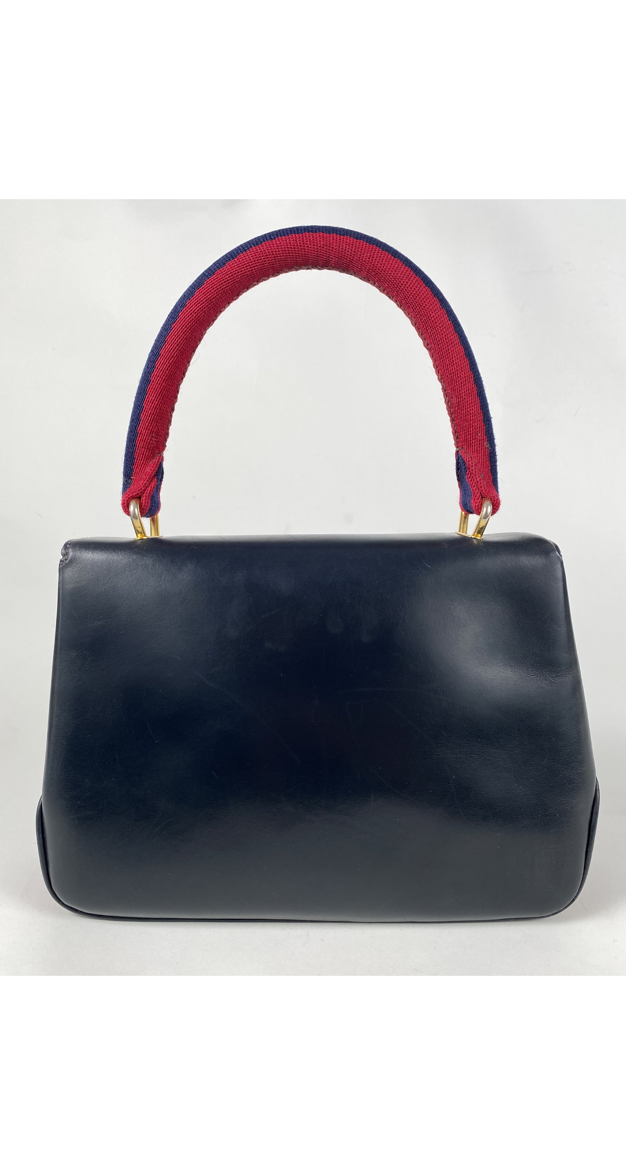 1960s Stripe Canvas Navy Leather Top-Handle Handbag