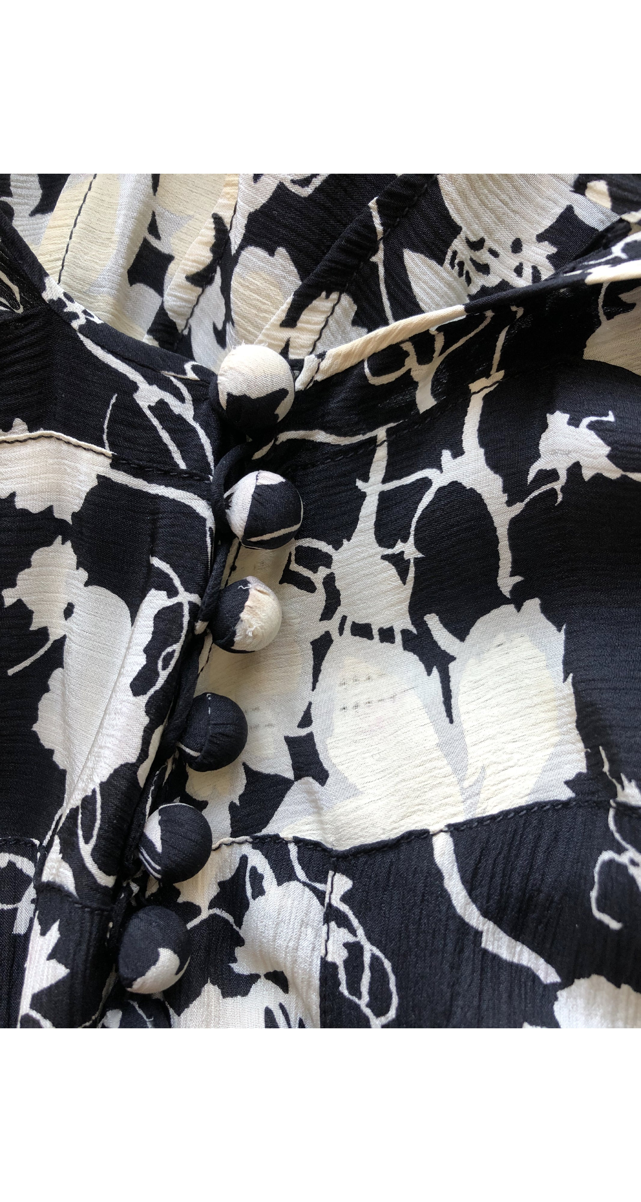 1930s French Black & Cream Floral Silk Crepe Gown