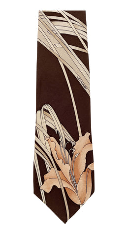 1970s Lily Brown Silk Men's Neck Tie
