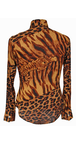 1970's Men's Leopard Print Shirt