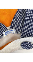 1970s NOS Girl's Orange & Navy Check Knit Pinafore Dress 3M