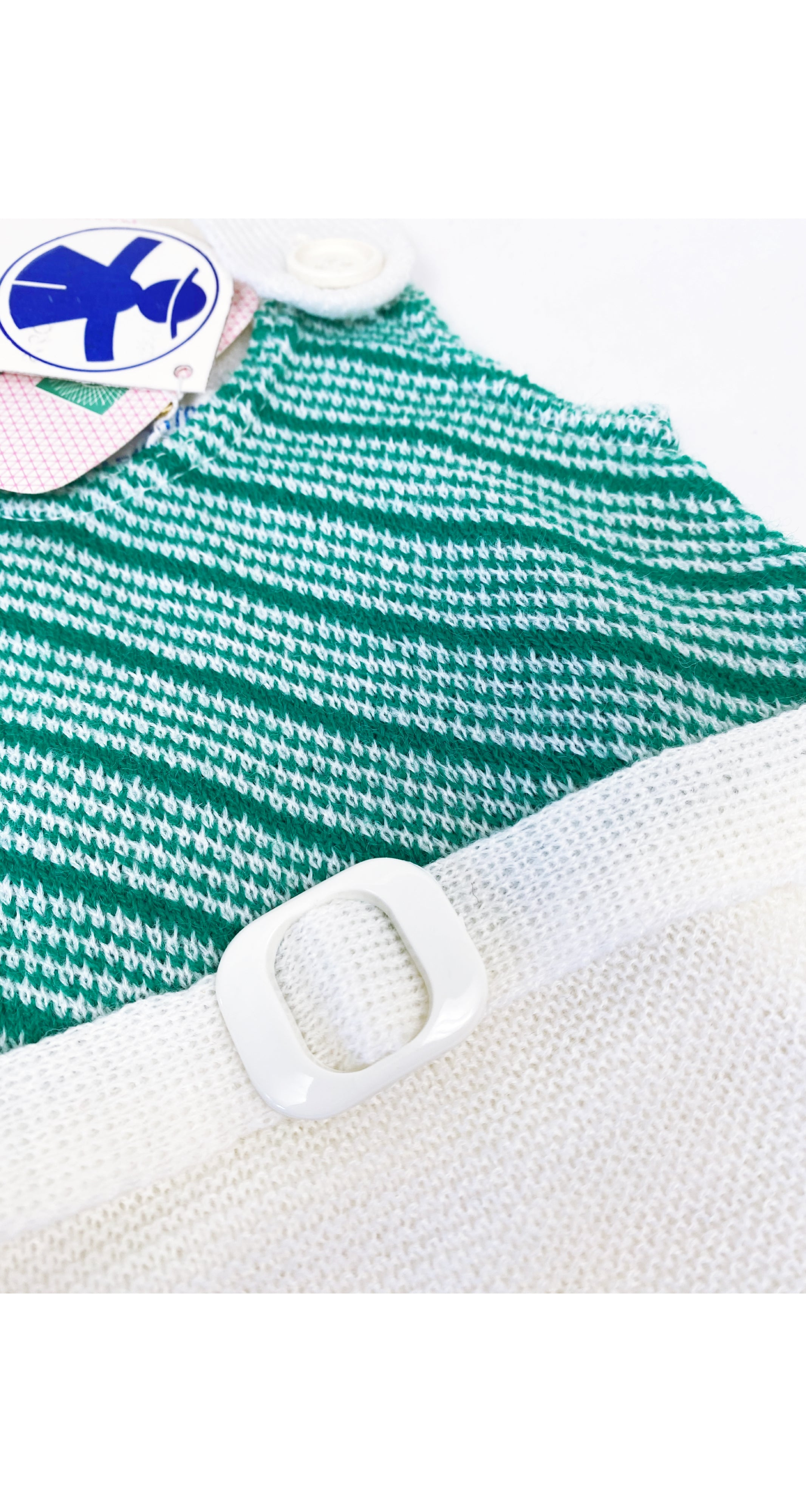 1970s NOS Girl's Green & White Knit Dress 3M