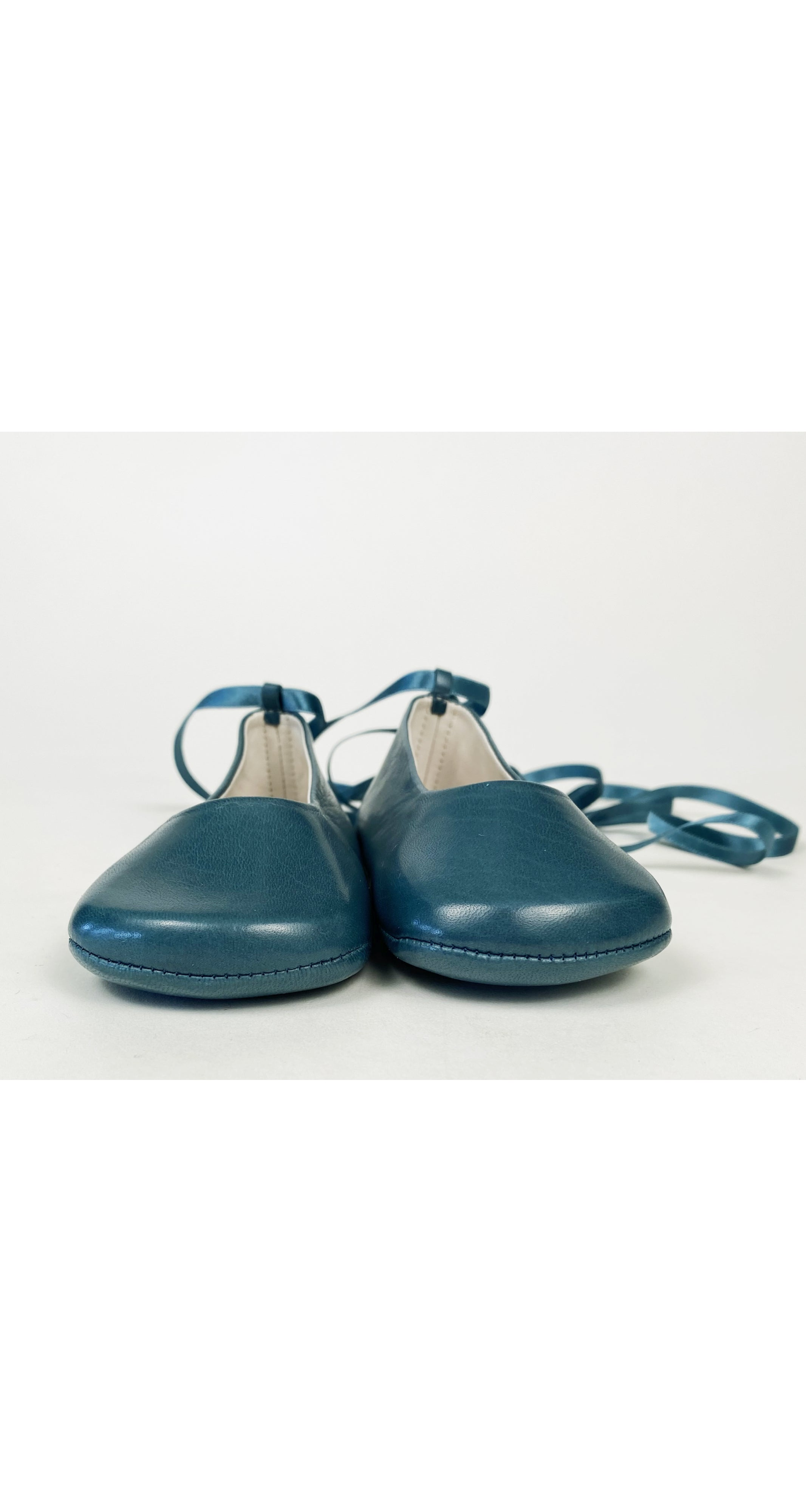 2000s NOS Teal Lambskin Lace-Up Ballet Shoes