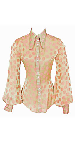 1970's Pink Polka-Dot Satin Balloon Blouse