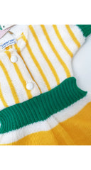 1970s NOS Girl's Yellow & Green Striped Knit Dress 3M