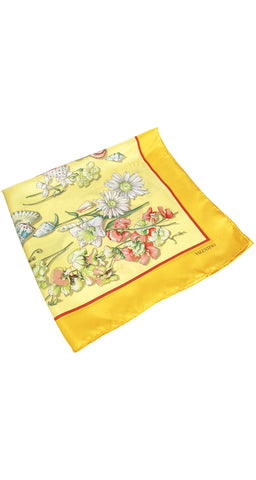 1980s Seashell Floral Print Yellow Silk Scarf