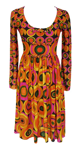 1960s Op Art Frog Knot Mini Dress
