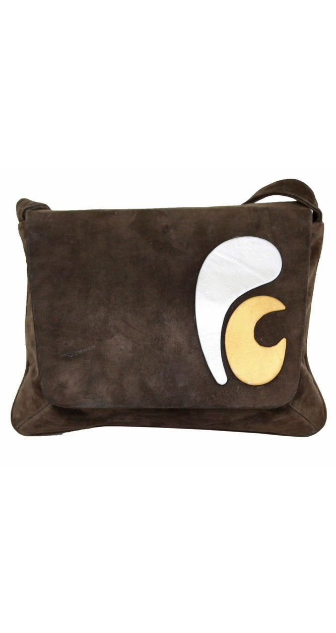 1960s Space Age Brown Suede Shoulder Bag
