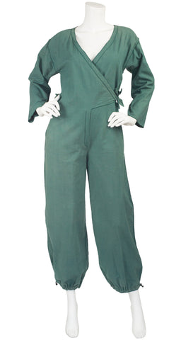 1977 S/S Documented Green Cotton Wrap Jumpsuit