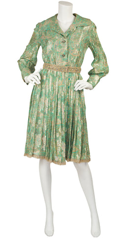 1960s Floral Green Lurex Pleated Cocktail Dress