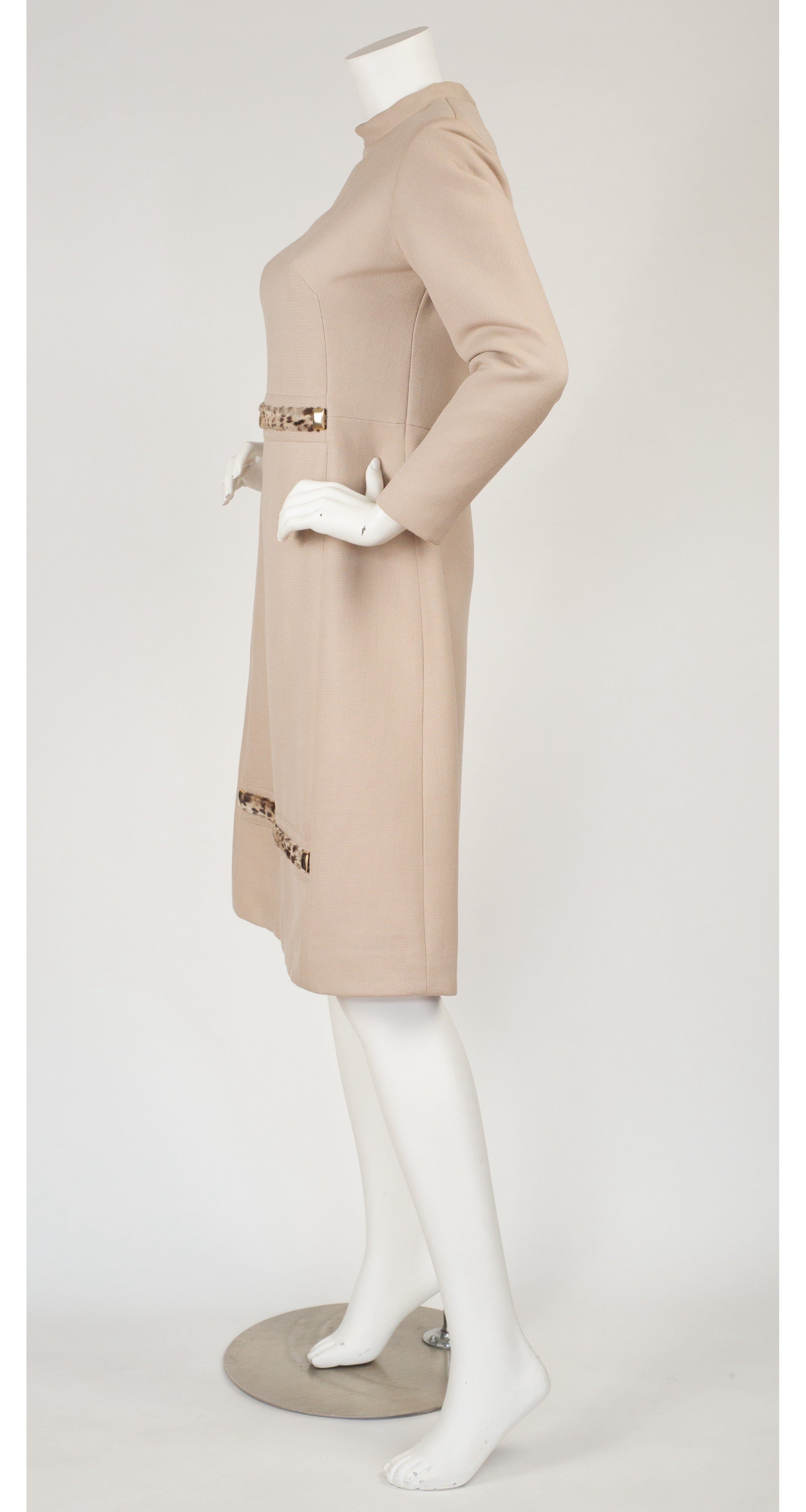 1960s Mod Beige Wool & Leopard Print Fur Dress