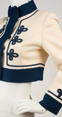 1960s Cream & Navy Wool Cropped Marching Band Jacket