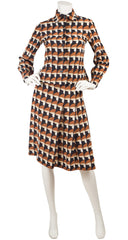 1973 S/S Runway Mushroom Print Silk Crepe Jacket & Skirt Set
