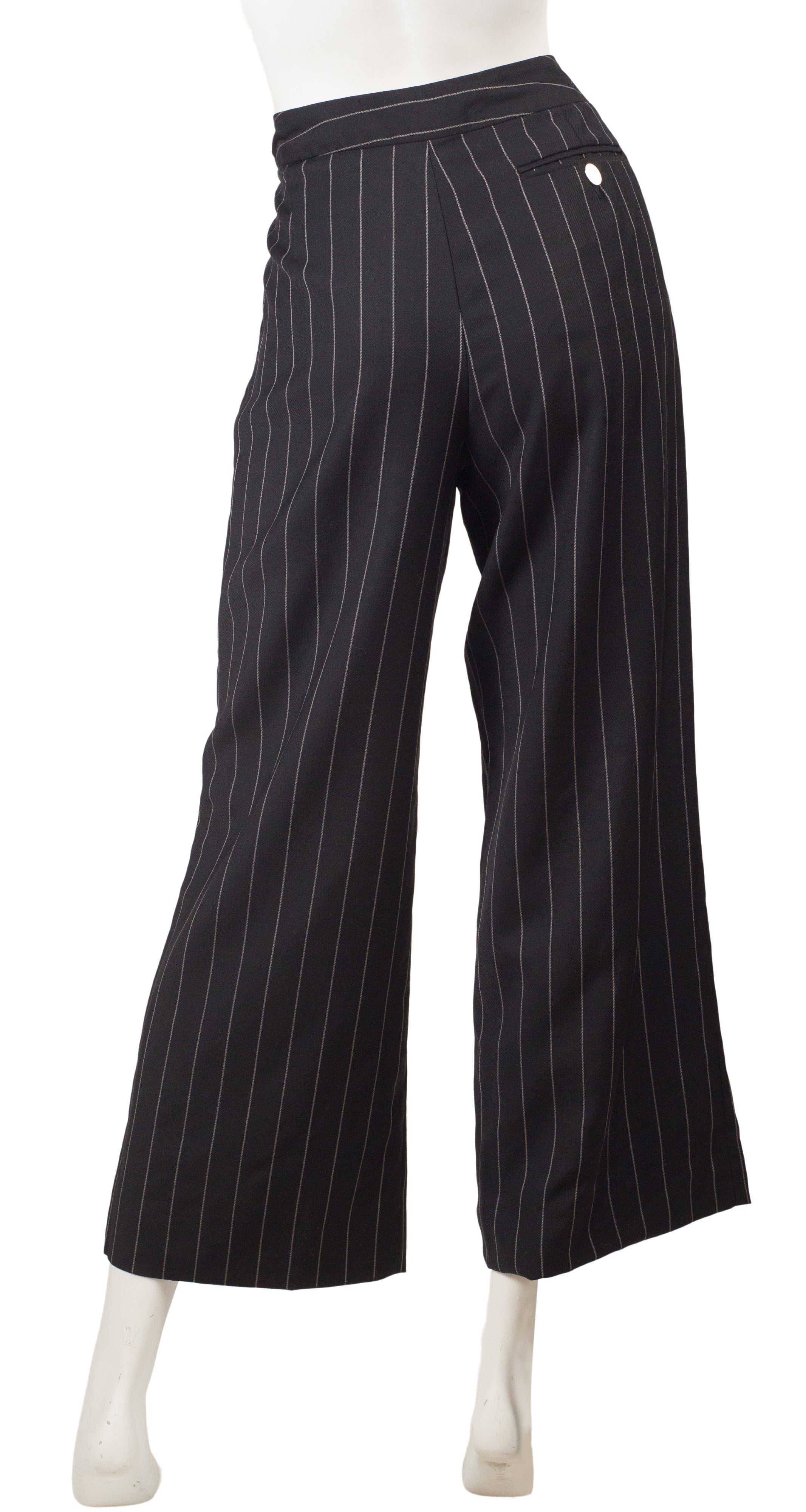 2000s Red Label Pinstripe Black Wool Wide-Leg Trousers