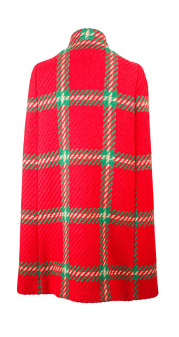1960s Mod Red & Green Plaid Wool Cape