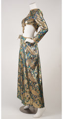 1960s Jeweled Lurex Palazzo Pant Evening Ensemble