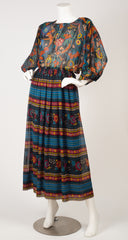 1970s Floral Chiffon Balloon Sleeve Dress