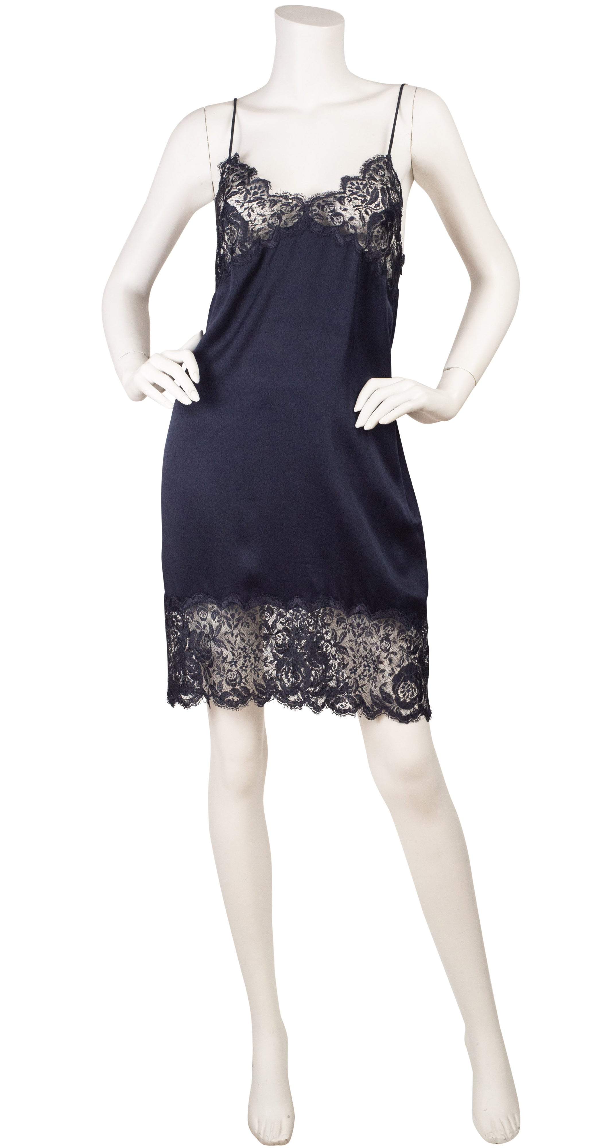 1997 S/S Runway Black Lace & Silk Slip Dress