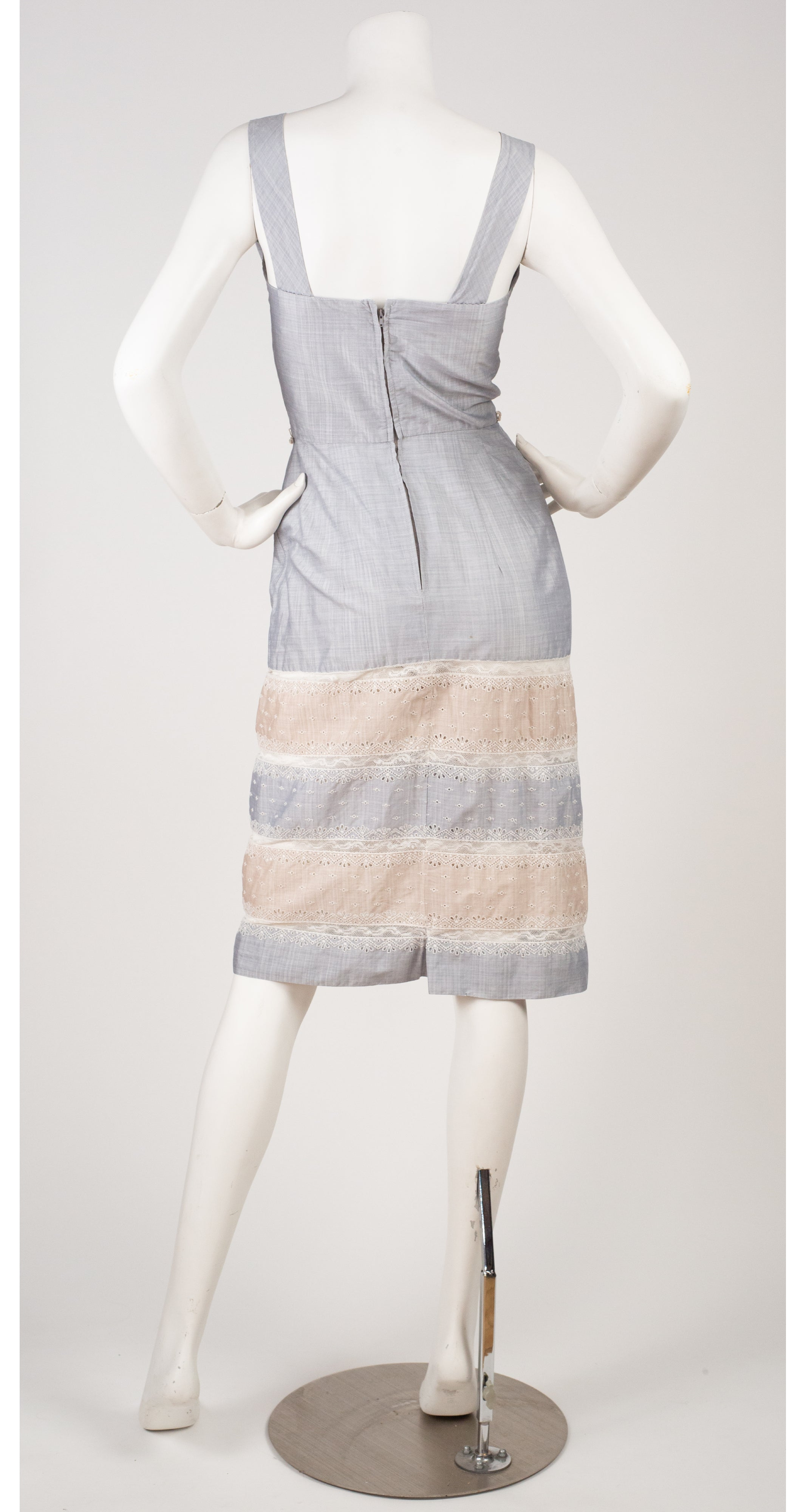 1950s Lace Inset Cotton Summer Dress & Shrug Set