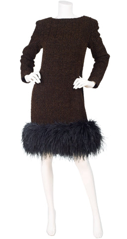1990s Brown Chenille Ostrich Feather Trim Cocktail Dress