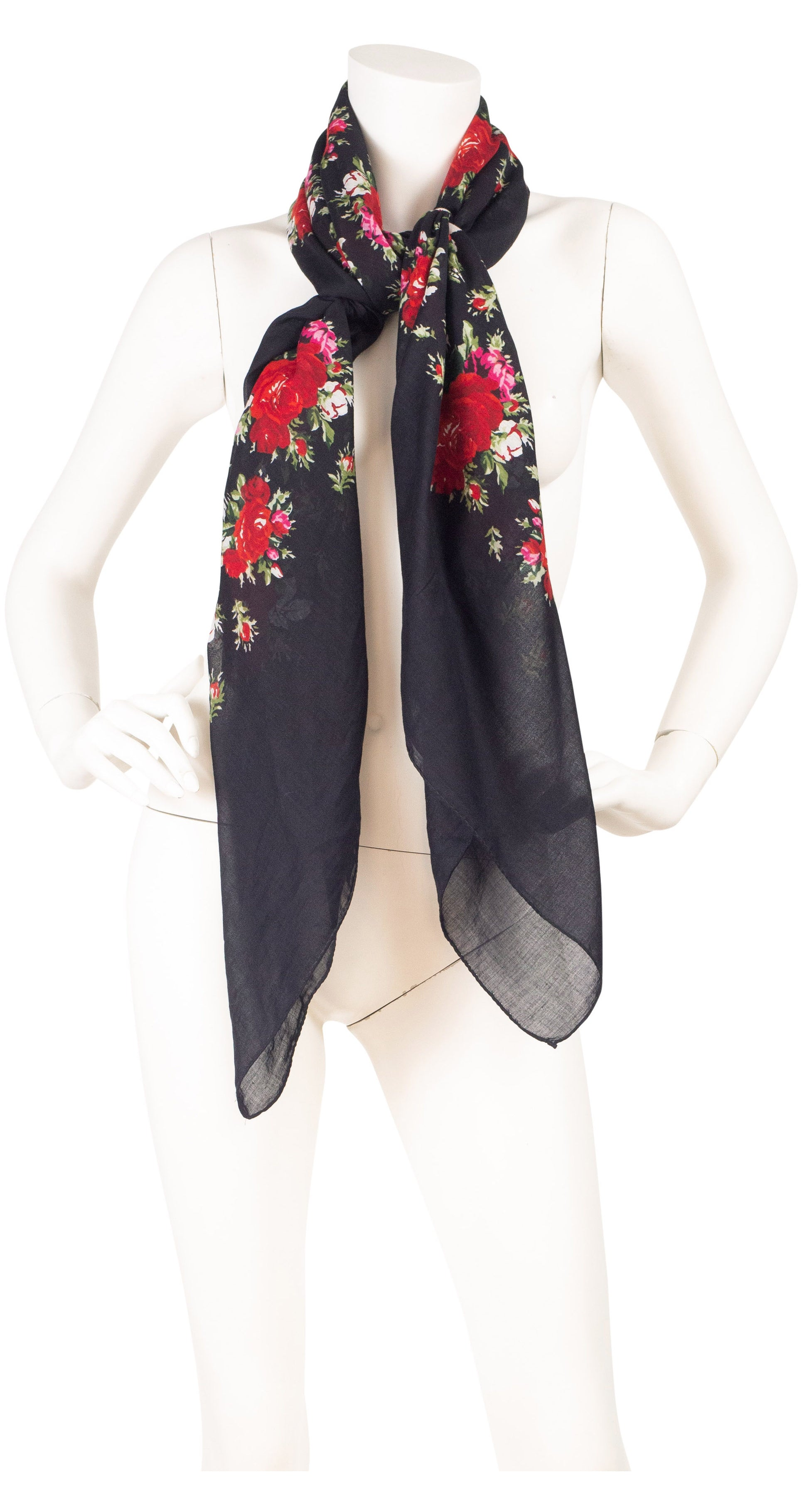 1970s Huge Red Rose Print Black Cotton Scarf