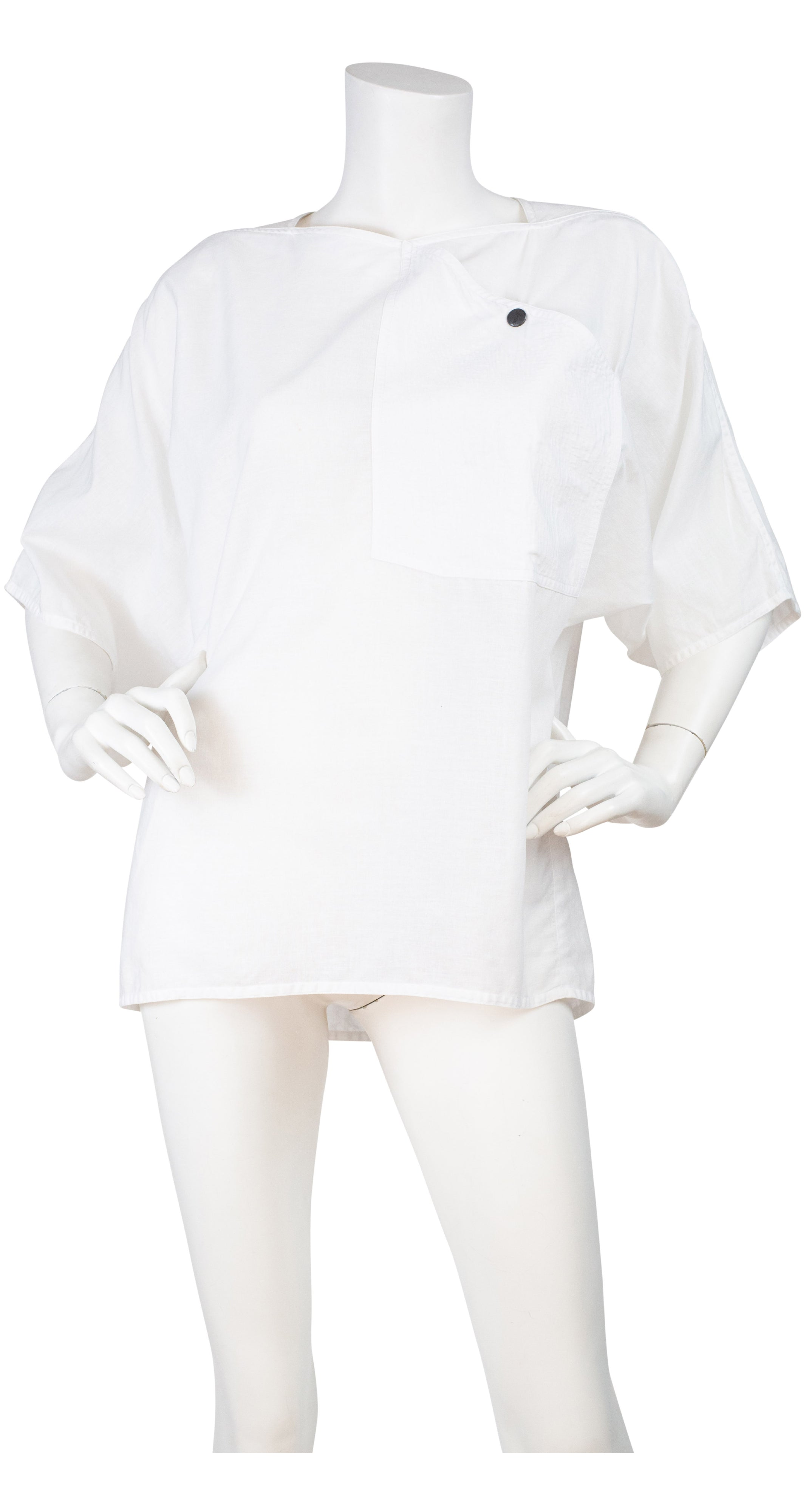 1980s White Linen & Cotton Box Cut Short Sleeve Top