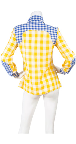 1970s Blue & Yellow Gingham Pointed Collar Blouse
