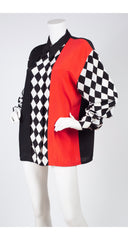 1980s Black, White, & Red Checkered Long Sleeve Blouse