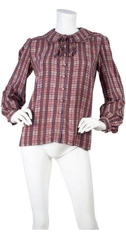 1978 F/W Runway Plaid Silk Peter Pan Collar Blouse