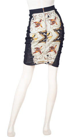 1980s Fan Electrical Cord Print Bodycon Skirt
