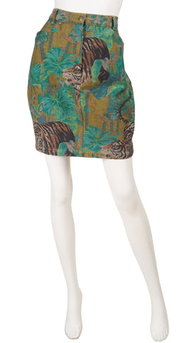 1980s Tiger Jungle Print Denim High-Waisted Mini Skirt